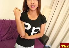 Thai Lilliputian tranny teen strokes her dick