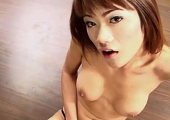 Ladyboy Bee Jerks Off and Cums