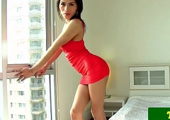 Oriental tgirl Jack the ripper thumbs her tight keister