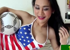 Soccer playing ladyboy Emma pov blowjob