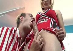 Transistor cheerleader butt fucks their way coach