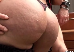 Teen sheboy penetrated &amp_ creamed