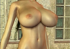 3D Busty Blonde there a bulky cock