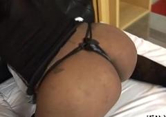 Teen tranny uses her moist butt