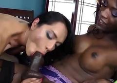 Black tranny shemale trades blowjobs