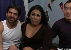Fat busty tranny screwing twosome men