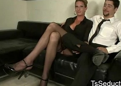 Tattooed tranny anal mad about guy in office