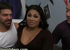 Tanned busty tranny in bdsm triple