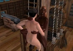 Some hot happy-go-lucky 3D interracial fucking on a pirate ship