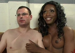 Black tranny lovelies increased by fingeres increased by fucks ass of white guy in gyno chair