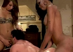 Two sexy tranny bitches fucks tied dude