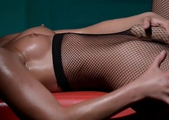 Solo in fishnet tights